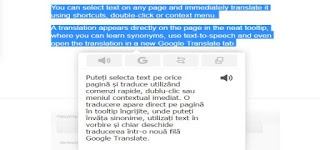 Instant Translate o extensie care traduce din browser un text selectat instant