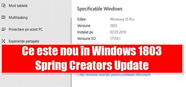 Ce este nou în Windows 1803 Spring Creators Update