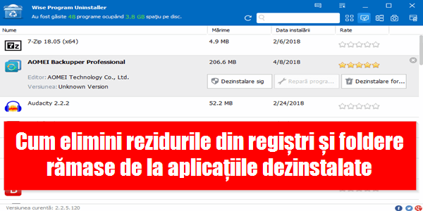 Wise Program Uninstaller elimină rezidurile din regiștri
