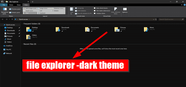 dark theme file explorer